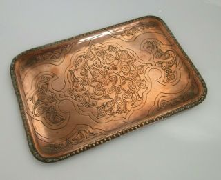 Vintage Arts And Crafts Copper Serving Tray Etched Pattern With Patina