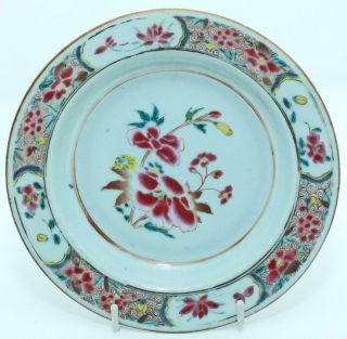 Good Unusual Chinese 18th C Famille Rose Saucer Plate (17cm) 2