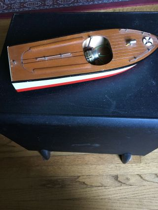 Antique Toy Wood Boat With Motor 219