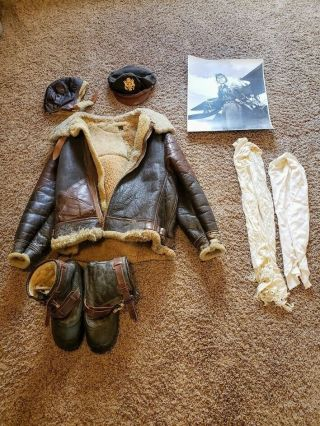 Wwii Us Air Force B - 3 Leather Bomber Jacket Helmet Boots Scarves Citadel 1944