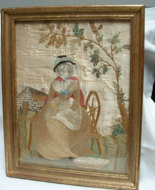 Antique Georgian Embroidered Silk Picture Circa 1780 Seated Lady Spinning