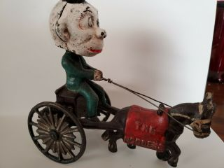 Very Rare,  Vintage,  Cast Iron Monkey,  Driving A Horse Drawn Wagon