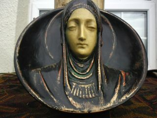 "Vintage Rare Bronzed Arts & Crafts 3d Plaster/chalk Wall Mask Madonna 9 "" Large"