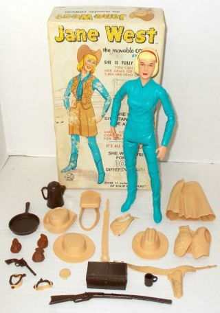 Marx Vintage Jane West 1st Version Figure In Vargas Box,  Many Accessories Johnny