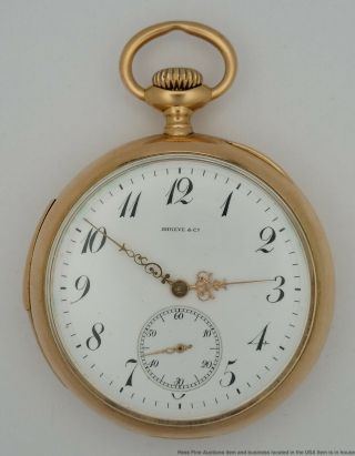 Huge 50mm Shreve Co Minute Repeater 18k Gold Mens Antique Pocket Watch