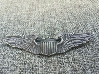 """Kinney Company 3 """" Wwii Ww2 Us U.  S.  Sterling Wings,  Army Air Corps Pilot Pin Back"""