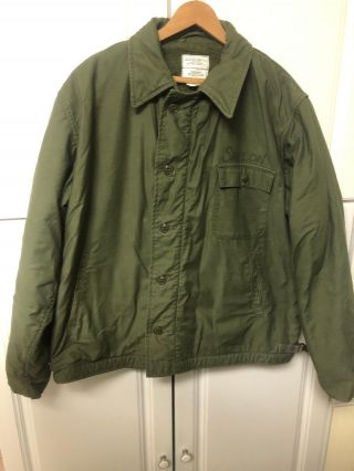 Vintage Vietnam Era Us Navy Green Xlarge 46 - 48 Deck Jacket Coat