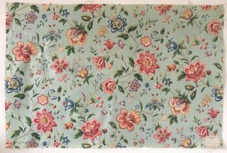 Charming 19th C.  French Exotic Floral Printed Fabric (2682)