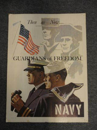 1966 Vietnam Us Navy Guardians Of Freedom Then As Now Recruiting Poster - L.  Nolan