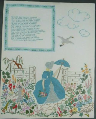 Vintage Crinoline Lady In Garden Embroidery & The Lord God Planted A Garden Poem