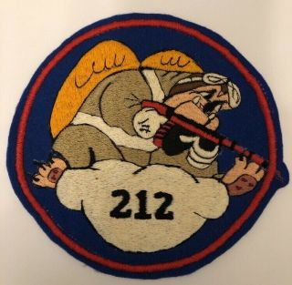 """Rare Ww2 Usmc Large Squadron Patch Vmf 212 """"hell Hounds"""""""