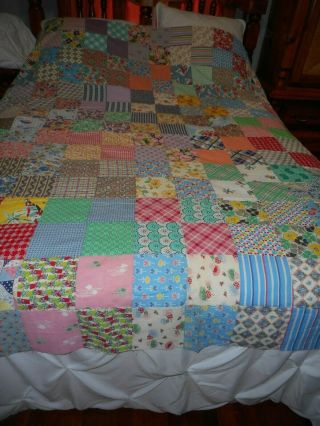 "Vintage Novelty Feedsack Squares Quilt Top 87 X 76 5 1/4 "" Squares Fishing Lures"