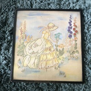 Vintage Antique Hand Embroidered Picture Of Crinoline Lady Framed