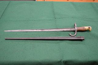 French 1876 Gras Sword Bayonet With Scabbard St.  Etienne Good Shape M1874