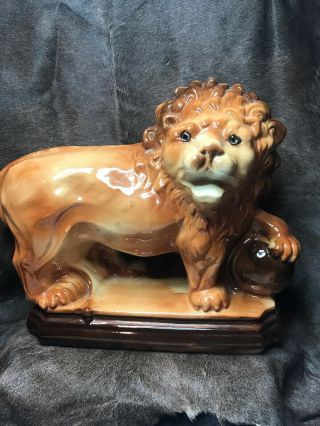 """Vintage Ceramic Asian Guardian Lion With His Left Paw On A Sphere.  14""""x5 1/4""""x11"""""""