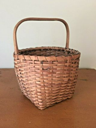 Small Early Antique Splint Oak Gathering Basket With Carved Handle