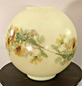"Vintage Yellow & Floral Ball Globe Shade Gwtw Kerosene Oil Lamp 8 1/2 "" X 8 1/2 """