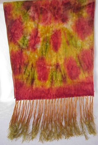 Early 1900's Crushed Velvet Tie Die Piano / Dresser Table Scarf Fringed Runner