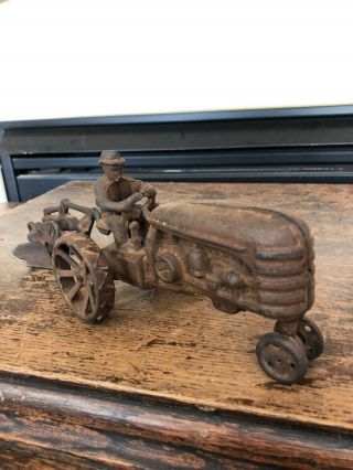 Vintage Cast - Iron Tractor W/ Driver And Plow