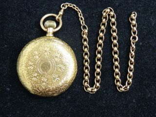 "Antique 1893 Elgin "" B.  W.  Raymond "" 18k Gold Pocket Watch W/ Chain 18 Size,  15 J"