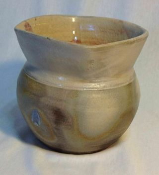 Studio Pottery Bowl Signed Stoneware Jar Or Vase Pinched Rim