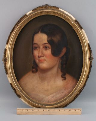 1843 Antique 19thc American Portrait Painting,  Young Girl,  Springfield Mass Nr