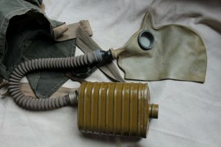 Rare Pre Wwii (mod.  1931) Soviet Russian Red Army Gas Mask Set.  Bag,  Mask,  Filter.