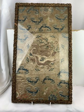 Chinese Antique Silk Hand Embroidery Dragon Panel