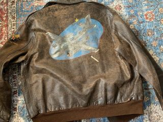 Wwii A - 2 Flight Leather Jacket - Rough Wear Size 44 - A26 Painted A2