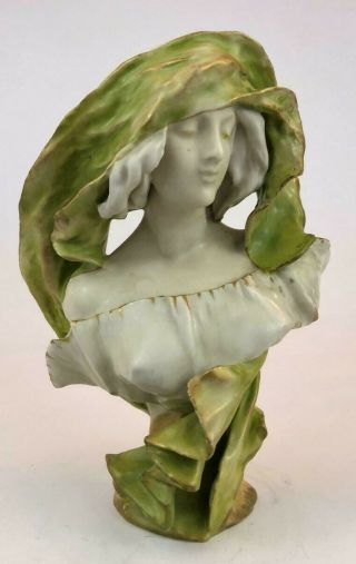 Vintage Austrian Amphora Porcelain Figurine,  Bust Of A Girl.  Early Xx C.