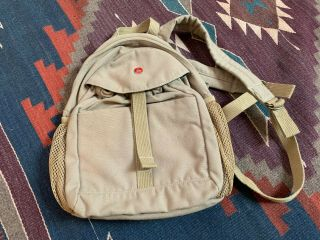 Small Army Style Tan Canvas Backpack Child Adult Vintage Rustic Look Fashion Cl