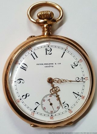 Patek Philippe Triple Signed Rose Gold Pocket Watch Antique