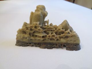 Antique Vintage Hand Carved Chinese Soapstone Or Jade Mountain Village Statue