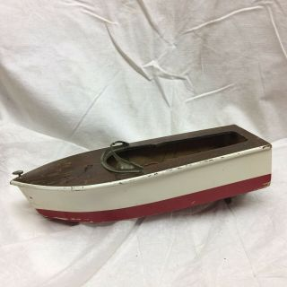 "Vintage Toy Wood Boat 9 1/2 "" Long"