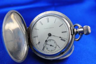 Illinois Watch Co Model 1 Coin Silver Hunting Case Pocket Watch Size 18 Ca: 1885