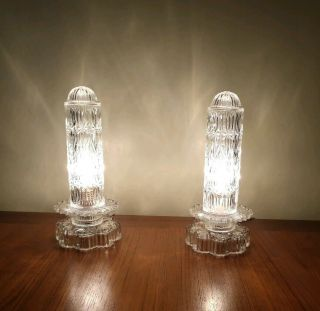 2 Vintage Leviton Art Deco Glass Bullet Boudoir Lamps Base And Shade Are Glass
