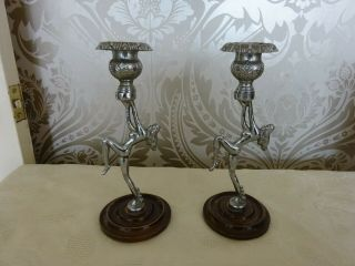 Vintage Retro Art Deco Dancing Naked Lady Candlesticks 20cm Tall
