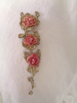 Stunning Small Antique French Handmade Lace Applique With Pink Silk Roses