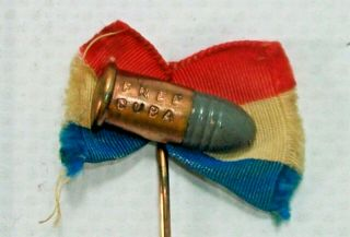 """Spanish American War Stickpin """" Cuba """" Bullet On Red White And Blue Ribbon."""