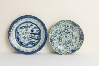 Two Chinese Antique/vintage Blue&white Porcelain Dishes