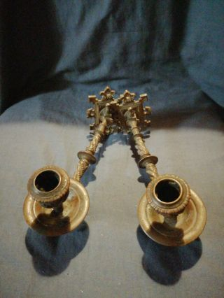 Victorian Gothic Revival Brass/bronze Candle Sconces.