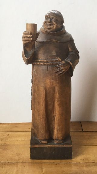 "Vintage Wood Carved Monk L.  B.  Vienna 13"" Tall Drinking Statue Figure"