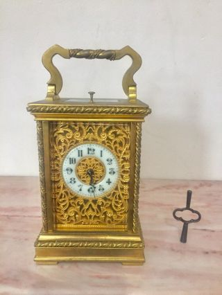 Antique French Gilt Bronze Repeater Carriage Clock C.  1890