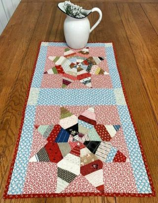 String Stars C 1930s Quilt Table Runner Assorted Prints 30 X 16 Vintage