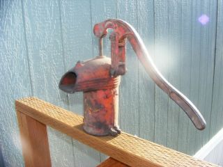 Vintage Old Red Jem Cast Iron Antique Hand Water Well Pump Barn Wood Garden