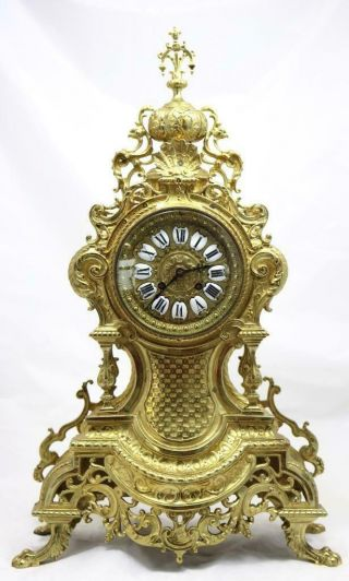 Antique Large Mantle Clock French Rocco Embossed Bronze Bell Striking C1870