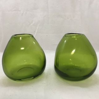 Mid Century Modern Green Handblown Glass Vases,  Pair