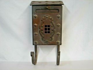 Antique Wall Mount Heavy Brass Mailbox Arts & Crafts Gothic W/ Newspaper Hooks