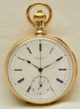 Extremely Rare 18k Gold Tiffany Patek Philippe 5 Minute Repeater Chronograph
