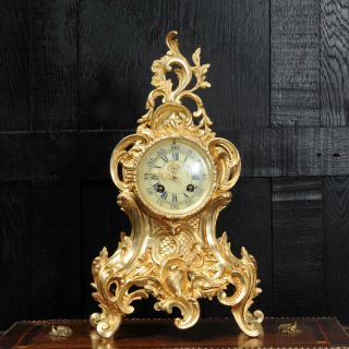 Antique French Gilt Bronze Rococo Clock By Louis Japy C1880